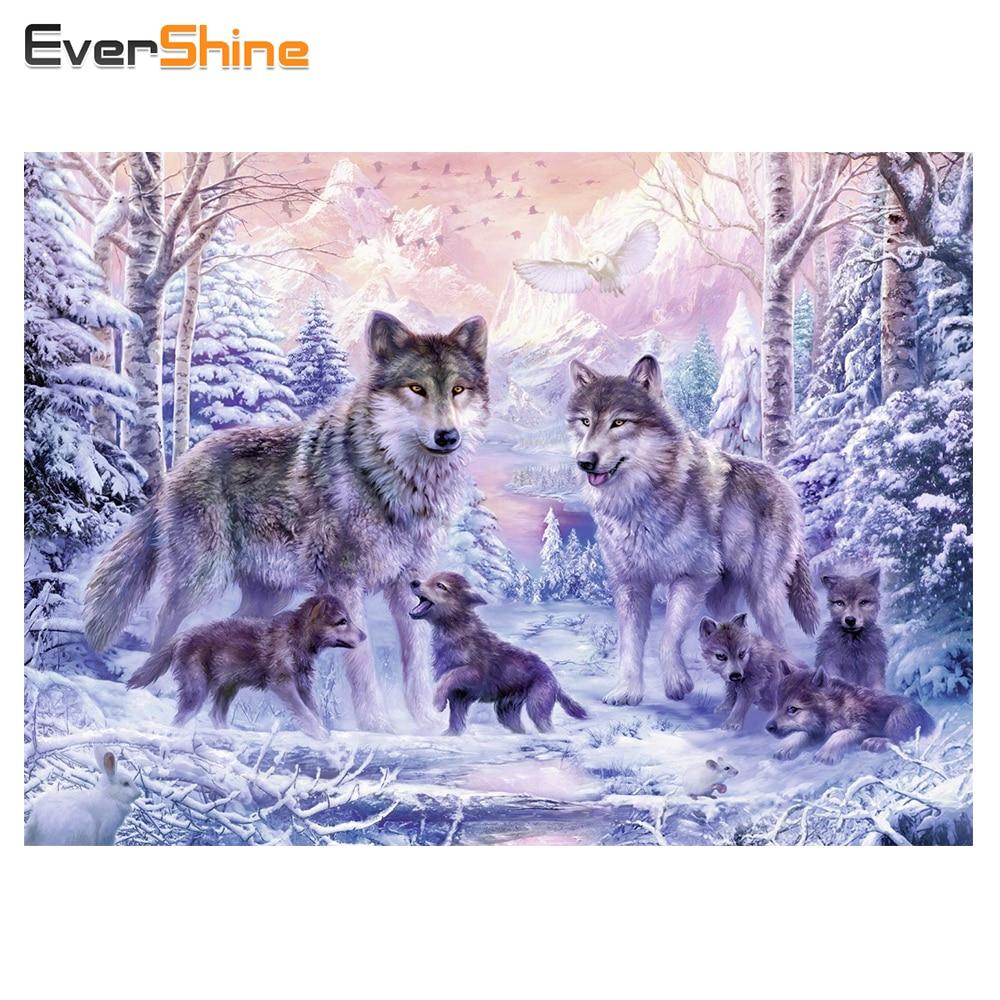 EverShine 5D Diamond Painting Animals Diamond Embroidery Wolf Pictures Of Rhinestones Full Square Cross Stitch Kit Art