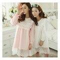 2016 Nova Primavera Pijama Estilo Coreano Camisola de Malha Rendas Bordado Saia Princesa Desgaste Casa Camisola Camisola