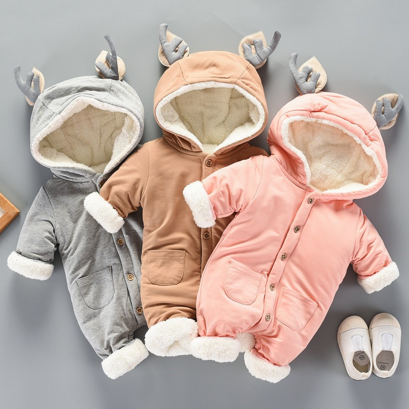 0-12 Baby Clothing Romper Baby Girl Clothes Fashion Hooded Thickening Cotton Cute Antlers Baby Boy Rompers Winter For Romper V20 6003 aosta betty baby rompers top quality cotton thickening clothes cute cartoon tiger onesie for baby lovely hooded baby winter