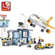 SLUBAN 0367 678PCS Model building kits compatible with lego city plane Airport 3D blocks Educational