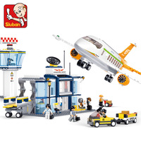 SLUBAN 0367 678PCS Model building kits compatible with lego city plane Airport 3D blocks Educational toys hobbies for KIDS