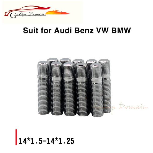 10 UNID Tornillos Tuercas M14x1.5 a Alloy Wheel M12x1.5 Pernos De Fijación Del Automóvil Kit de Bloqueo Para Volkswagen Seat Audi BENZ Cromo envío