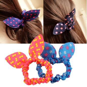 Orelhas de Coelho Tecidos Flores Cabeça Cabelo Banda Bowknot Dots Stripe Floral Alta Resiliência Anéis Hair Care & Styling Tools Ha072