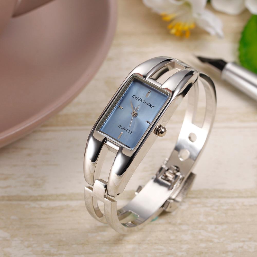 GEEKTHINK luxe merk quartz horloge vrouwen rechthoek roestvrij staal - Dameshorloges - Foto 5