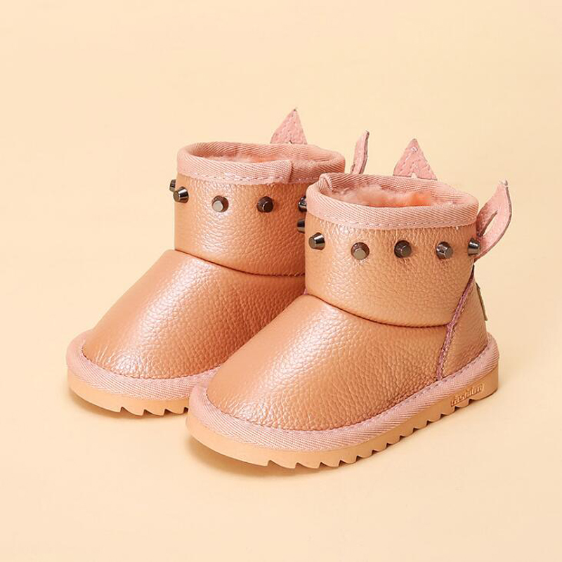 Girls snow boots 2018 new arrivals winter shoes genuine leather children boots rivet princess shoes for 1-8 years old 2018 winter plus cotton girls princess shoes genuine leather soft bottom for children 0 1 years old female baby toddler shoes