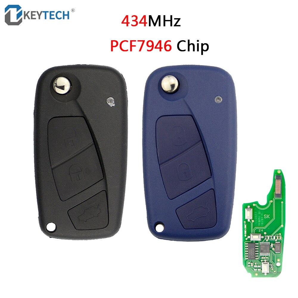 OkeyTech 3 boutons Flip clé à distance pliante 434MHz PCF7946 puce bleu noir couleur pour Fiat Punto Ducato Stilo Panda Central