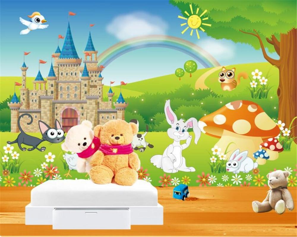 Children room decoration 3d wallpaper cartoon rainbow for Rainbow wallpaper for kids room