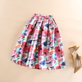 Womens Pleated Skirt Ball Gown Midi High Waist Casual Party Skirts Elegant Colorful Floral Print Skater Skirt Faldas Mujer