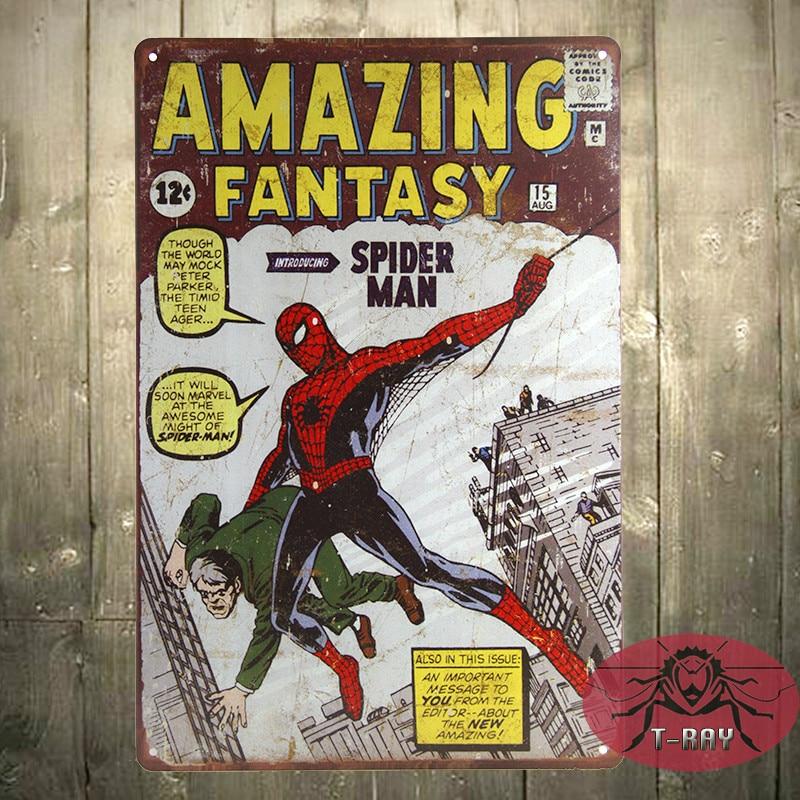 <font><b>SPIDER</b></font> MAN Amazing Fantasy 15 Marvel COMIC A4 art print poster Vintage, Tin <font><b>Sign</b></font>, Man Cave, Hot Rod
