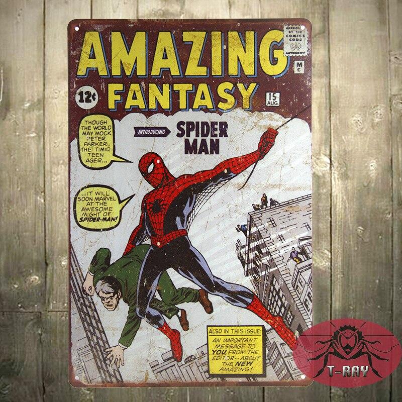 <font><b>SPIDER</b></font> <font><b>MAN</b></font> Amazing Fantasy 15 Marvel COMIC A4 art <font><b>print</b></font> poster <font><b>Vintage</b></font>, Tin Sign, <font><b>Man</b></font> Cave, Hot Rod