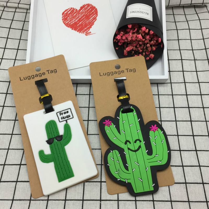 Cute Cactus Plant Luggage Tag Travel Accessories Women Men Suitcase Name ID Address Tags