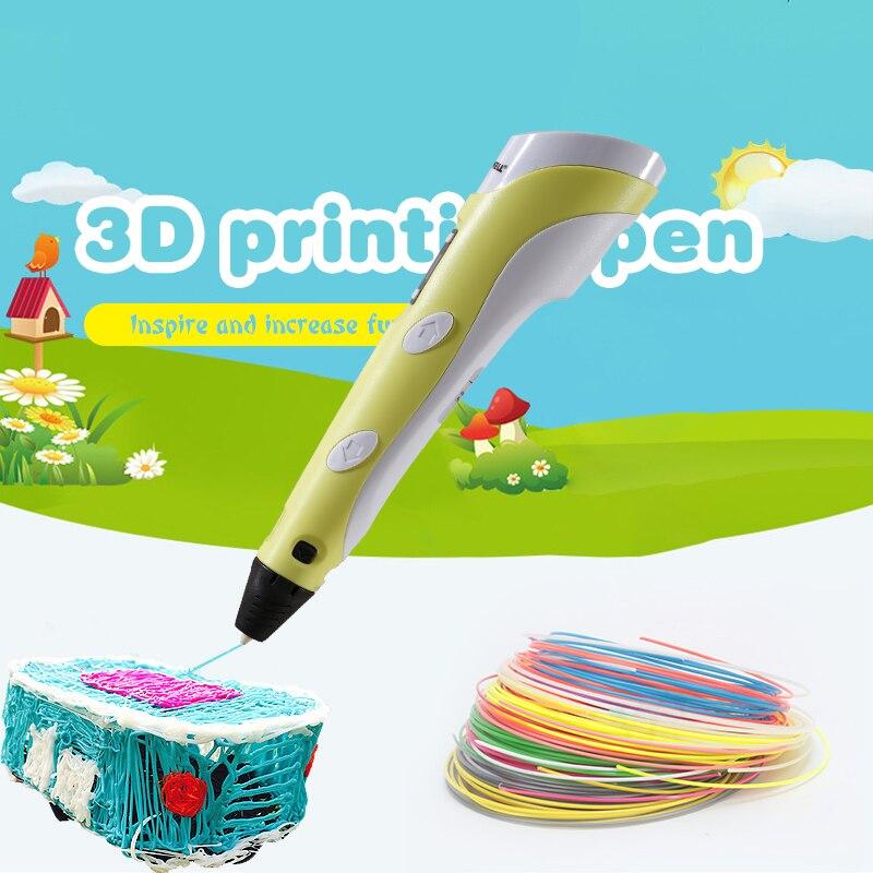 Myriwell 2nd 3D ручка Doodler низкая-тепла делает каракули Arts & Crafts Multi-Цвет ABS нити (3 вида цветов * 3 м) бумага модель 20 шт.