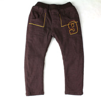 Winter Boys Pants Warm Thicken Plus Velvet Kid Trousers Embroidered Fleece Dark Grey Pants ZQ 25810