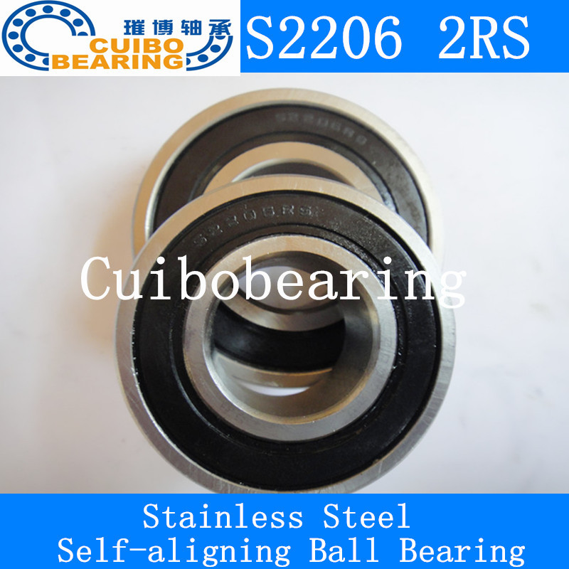 FREE SHIPPING 2PCS Stainless steel self-aligning ball bearings S2206 2rs Size 30*62*20   2206 2rs 2pcs set stainless steel 90 degree self closing cabinet closet door hinges home roomfurniture hardware accessories supply