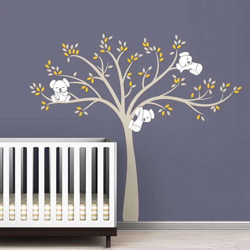 220x196cm Large Koala Tree Wall Decals For Baby Kids Bedroom Wall Stickers Waterproof Removable Vinyl Wallpaper Poster D456C ...