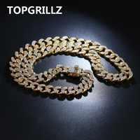 14mm largeur 4 tailles personnalisé hommes chaîne cubaine collier glacé Bling AAA + CZ pierres Hip Hop or argent couleur chaîne bijoux