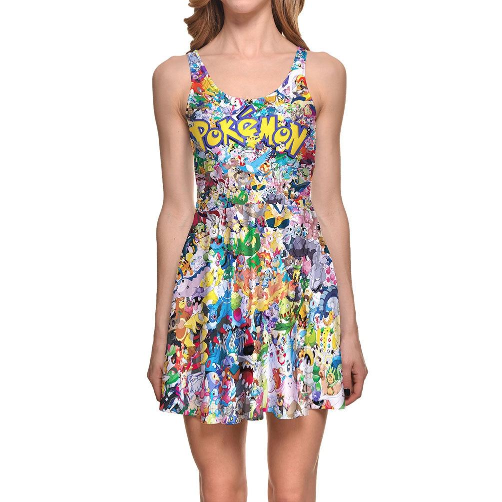 Pokemon Print Skater Dress 2017 Summer Dress Women Cosplay Print Fitted Dress Reversiable Skater Dress Plus Size for Party