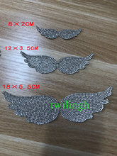 1 Piece Wing Hot Fix Rhinestone Motif Children Baby Suit Crystal iron Crown wings Glass Patch Applique For Wedding Dress  Crafts