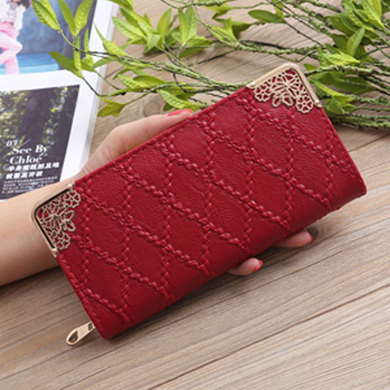 New 2018 Fashion Wallet Female Coin Purse Diamond Pattern Long PU Leather Women Wallets Clutch Card Holder Female Purse qiwang fashion women wallets snake pattern leatherl wallet purse for women real leather hole design female long wallet women
