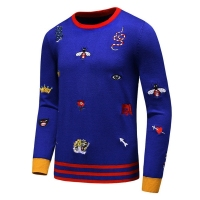 New 2019 Men Luxury Winter Embroidered animal Tiger Bees Snake leopard Casual Warm Cashmere Sweaters pullover man Size M XXXL