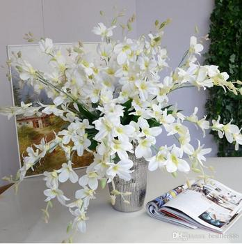 High Quality Artificial Real Touch Flowers White Blue Orchid Touch Flowers For Home Wedding Decoration Dining Table decor