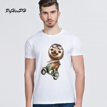 New 2017 Sloth On Motorcycle Print T-shirt Men Casual White Short Sleeve Tshirt Male High Quality Hipster Tees