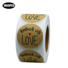 1000PCS Wedding Party Decoration Round Kraft Handmade with love Stickers seal labels for Birthday Envelopes Gifts Packging