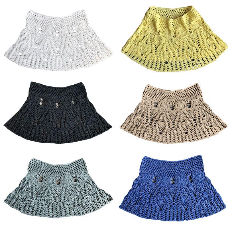 Femmes D'été Dentelle À La Main Crochet Bikini Bottoms Jupe Solide Couleur Évider maillot de bain tricoté Cover Up Motif Ethnique Mini Un-