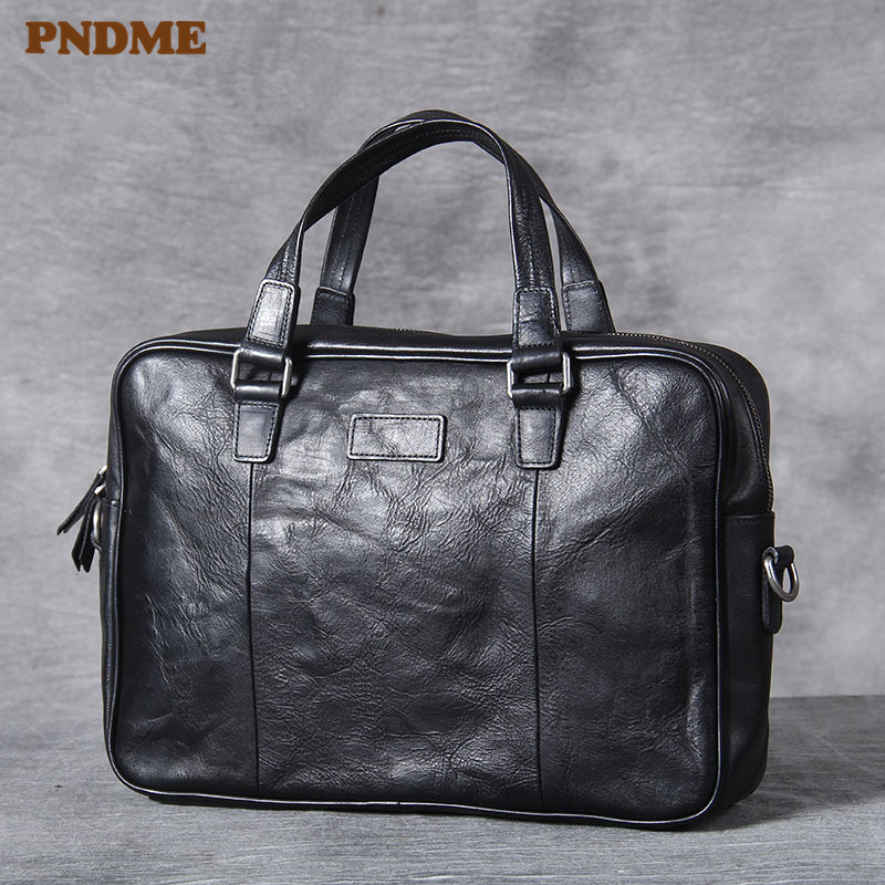 PNDME High Quality Soft Genuine Leather Black Men's Briefcase Casual Simple Cowhide Office Laptop Bag Travel Messenger Bags