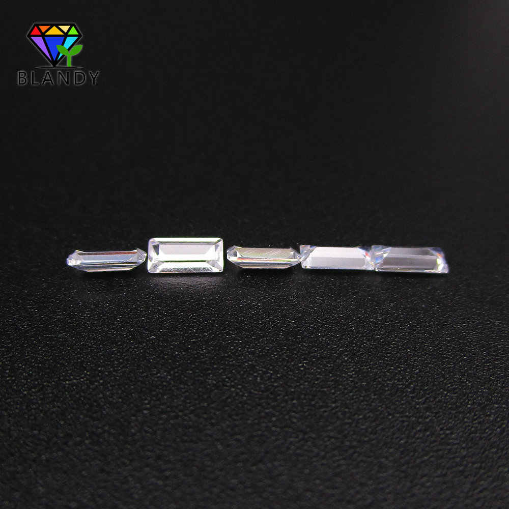 Free Shipping 1.5*2mm~2*4mm AAAAA Rectangle Shape Baguette Cut White Cubic Zirconia CZ Stone Synthetic Gems For Silver Jewelry