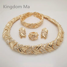 KINGDOM MA News Nigerian Wedding African Beads Jewelry Set Women Gold Color African Costume Jewelry Set Dubai Big Jewelry Sets(China)
