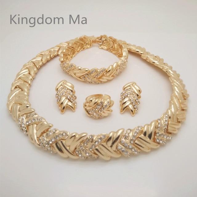 KINGDOM MA News Nigerian Wedding African Beads Jewelry Set Women Gold Color African Costume Jewelry Set Dubai Big Jewelry Sets