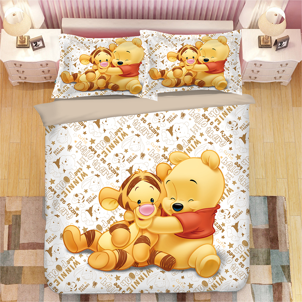 Copripiumino Winnie The Pooh.Tigger Winnie The Pooh Bedding Set Twin Size Duvet Cover For Kids