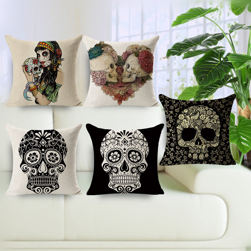 Promotional Hot Sale Home Decorative Pillows 45x45cm Nordic Style Chair  Cushion Cover Skull Printed Cotton Linen