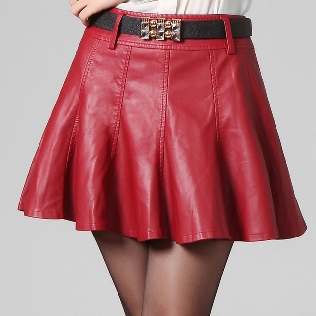 078492949e6 autumn winter leather skater skirt women black leather skirts A line sexy  red mini PU leather skirt saias plus size jupe en cuir