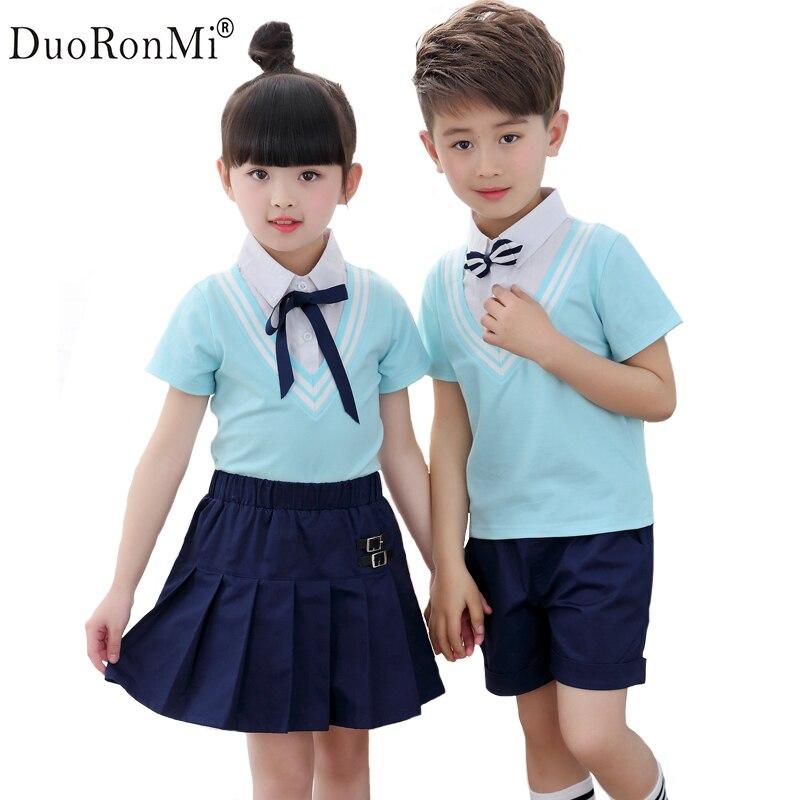 DuoRonMi Boys Clothing Sets 2pcs Gentleman Princess Baby Boy Girls Clothes School Uniform Children Shirt + Pants or Skirt Suit seitokai no ichizon cosplay school boy uniform h008