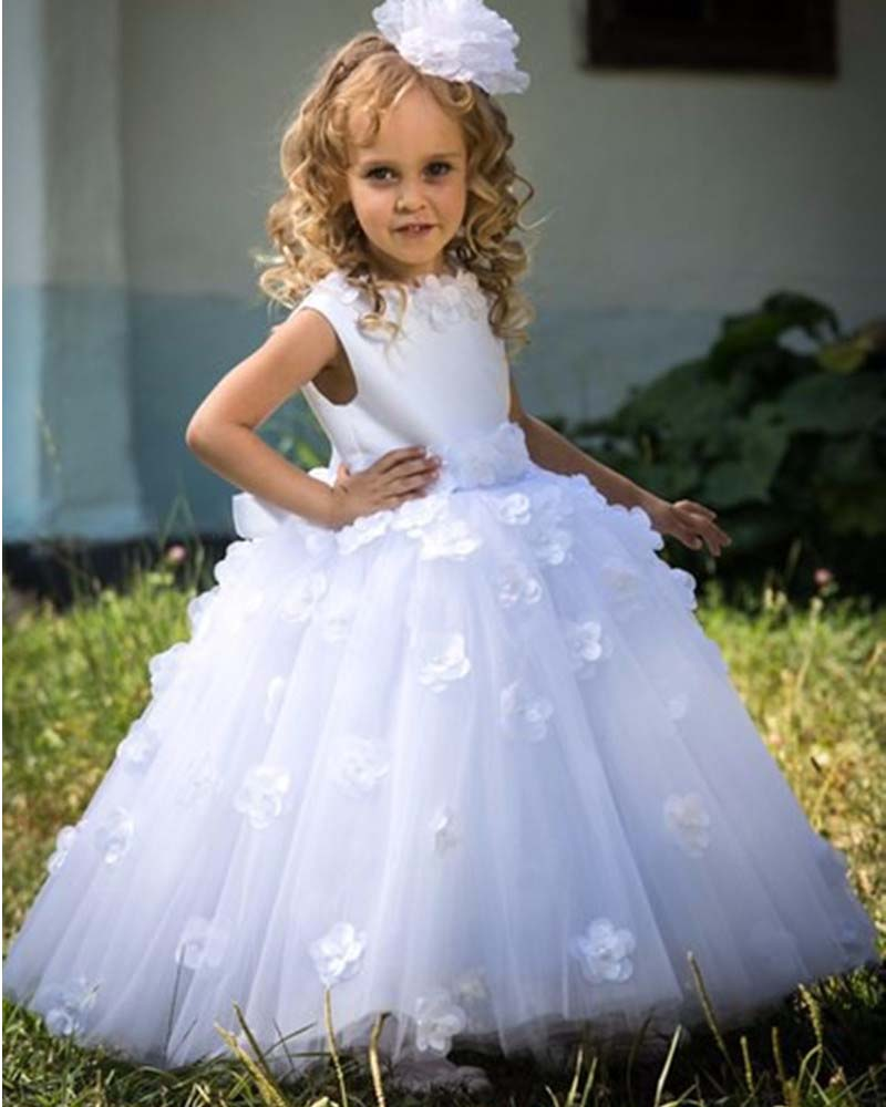 White Tulle A Line   Flower     Girl     Dresses   New Style   Flowers   Applique Beaded Scoop Cap Sleeve Floor Length Kids Wedding Party   Dress