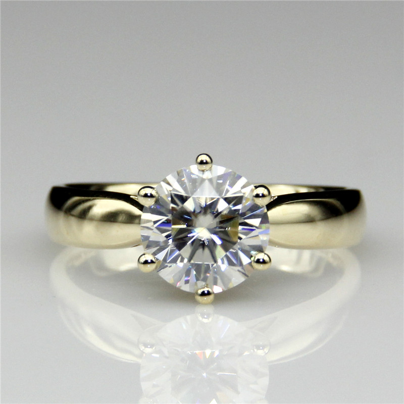 LASAMERO Round 2ct Lab Grown Diamond Starling Solitaire 14k Yellow Gold Engagement Ring Moissanites Wedding Rings