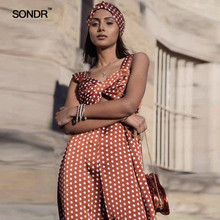 SONDR Polka Dot Hollow Out Women Jumpsuits High Waist Sleeveless Off Shoulder Female Jumpsuit Summer Sexy Fashion 2019
