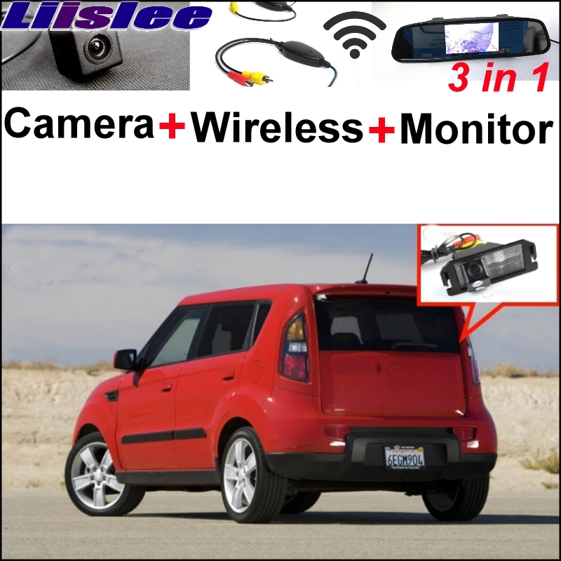 Liislee 3 in1 Special Rear View Camera + Wireless Receiver + Mirror Monitor Parking System For Kia Soul 2009~2011 3 in1 special rear view camera wireless receiver mirror monitor back up parking system for citroen ds3 ds 3 2009 2015