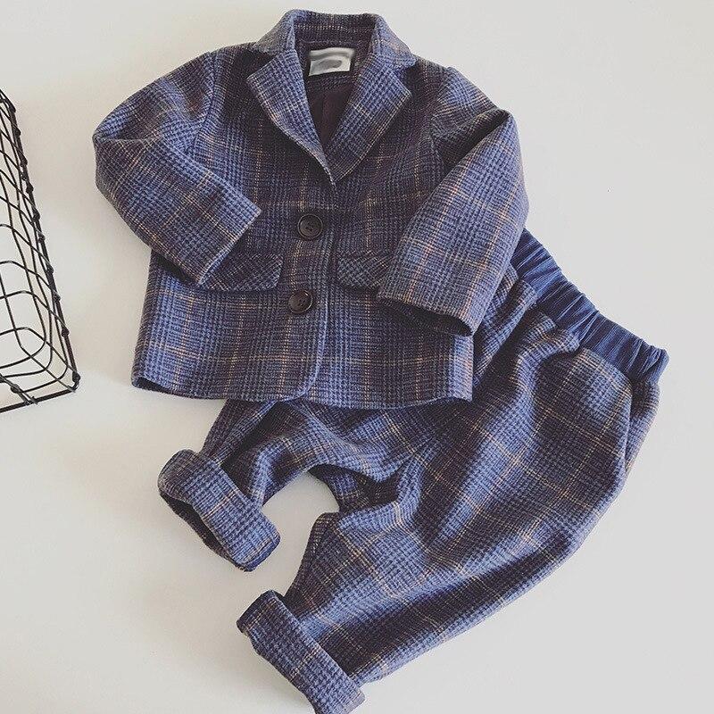 Boy spring autumn new suit Korean casual lattice suit