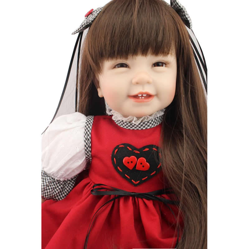 Handmade Smiling Reborn Dolls Girl 22 inch Real Silicone Newborn Toddler Doll Lifelike Baby Kids Birthday Xmas Gift npk collection 22 inch lifelike reborn dolls toys silicone newborn baby girl fashion doll smiling princess xmas gift