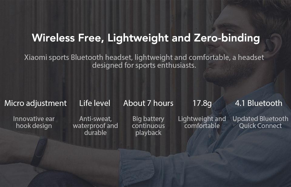 Original Xiaomi Mi Bluetooth Earphone mini Version Sport Wireless Headset IPX4 Waterproof Bluetooth 4.1 Headset (2)