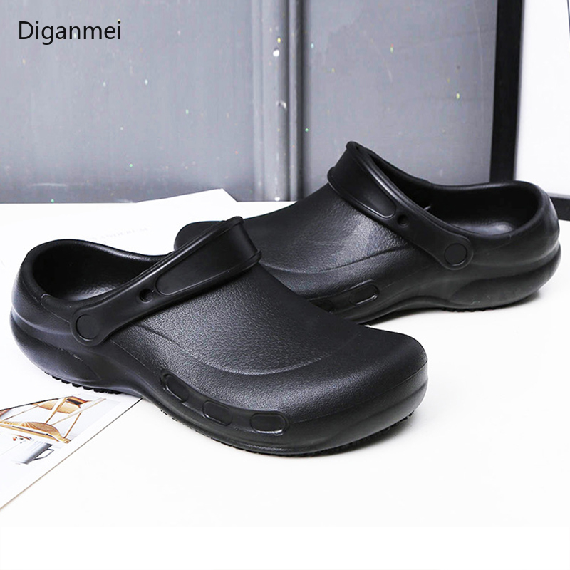 Diganmei EVA Sandals Men's Chef Kitchen Working Shoes Super Anti-slip Anti-oil Summer Breathable Hotel Men Cook Work Slippers