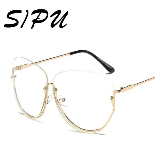 c1ad448af4f863 Rétro Moitié Cadre Transparent Lunettes Ronde Ovale Objectif Clair Lunettes  de Soleil Femmes Vintage Surdimensionné lunettes