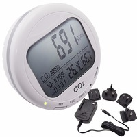 Portable Digital 3 in1 Round Desktop Indoor Air Quality Temperature Humidity RH Carbon Dioxide CO2 Monitor Meter Clock 0~2000ppm