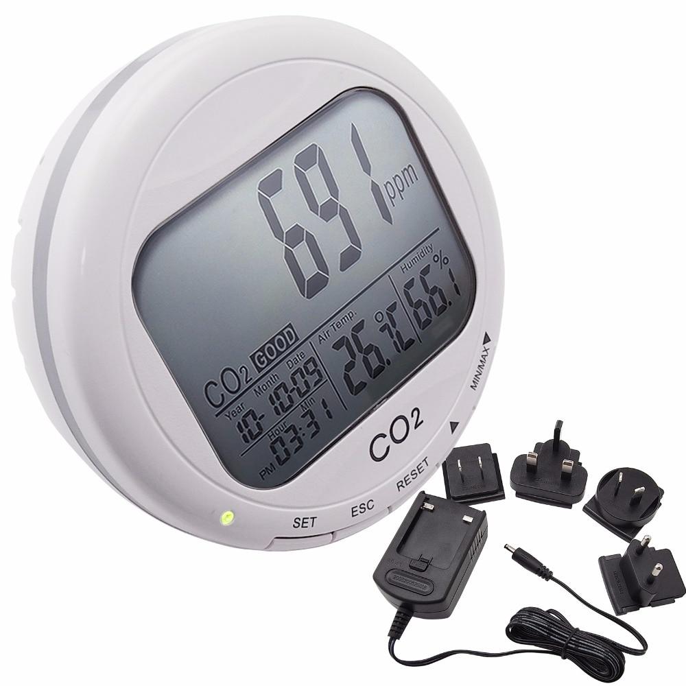 Portable Numérique 3-in1 Ronde Bureau Qualité de L'air Température Humidité RH Dioxyde De Carbone CO2 Moniteur Compteur Horloge 0 ~ 2000ppm
