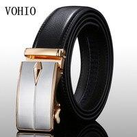 VOHIO 2017 New men's leather belt high quality male automatic buckskin belt Gold silver buckle fashion casual men genuine black