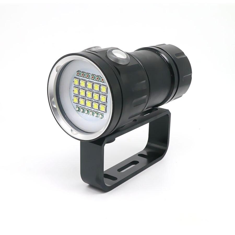 Nouvelle led Flashlight Plongée Sous-Marine 80 M XHP70/L2 Photographie caméra vidéo lampe de poche tactique Bleu + Blanc led Lanterna Torche - 3