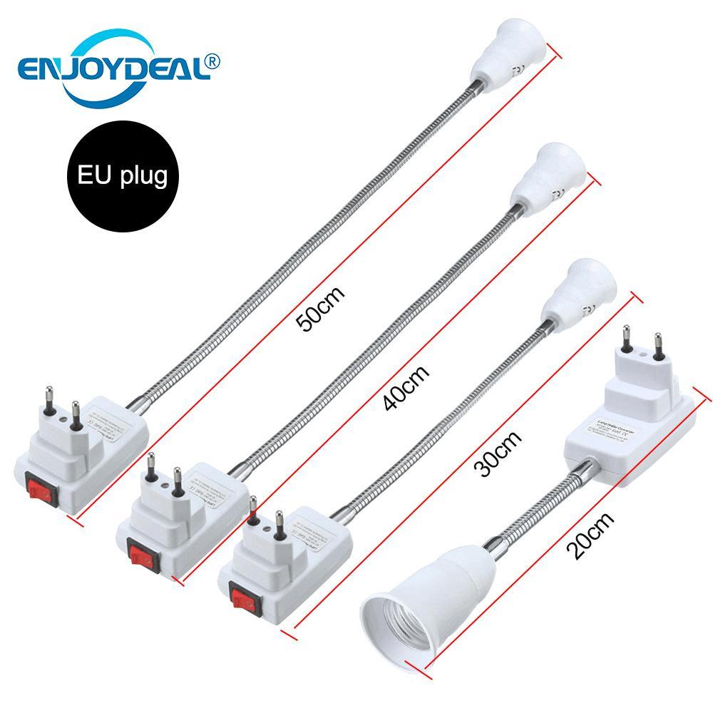 Гибкий E27 светильник лампа адаптер гнездо Расширение Конвертер настенный держатель винтовой разъем ЕС США вилка белый+ серебристый